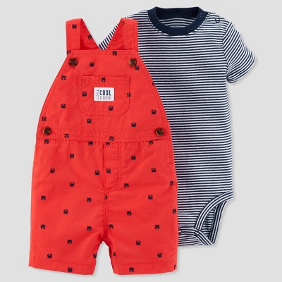 Baby Boys' 2pc Crab Shortall Set - Just One You® made by carter's Red/Navy 3M