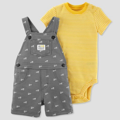 Baby Boys' 2pc Construction Shortall Set - Just One You® made by carter's Gray/Yellow 9M
