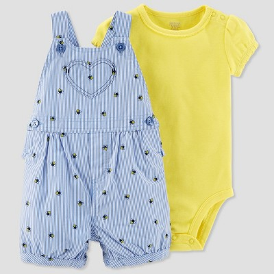 Baby Girls' 2pc Bees Shortall Set - Just One You® made by carter's Blue/Yellow 9M