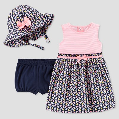 Baby Girls' 2pc Birds Dress Set - Just One You® made by carter's Pink/Navy Newborn