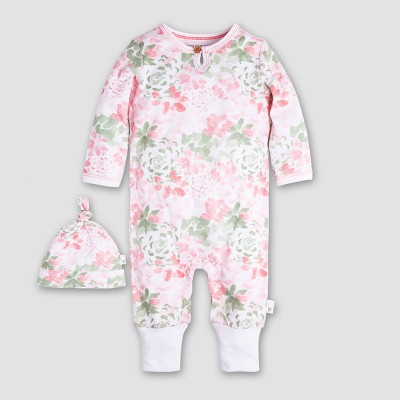 Burt's Bees Baby Girls' 2pc Organic Cotton Succulent Flowers Ruffled Coverall and Hat Set - Multi 3-6M