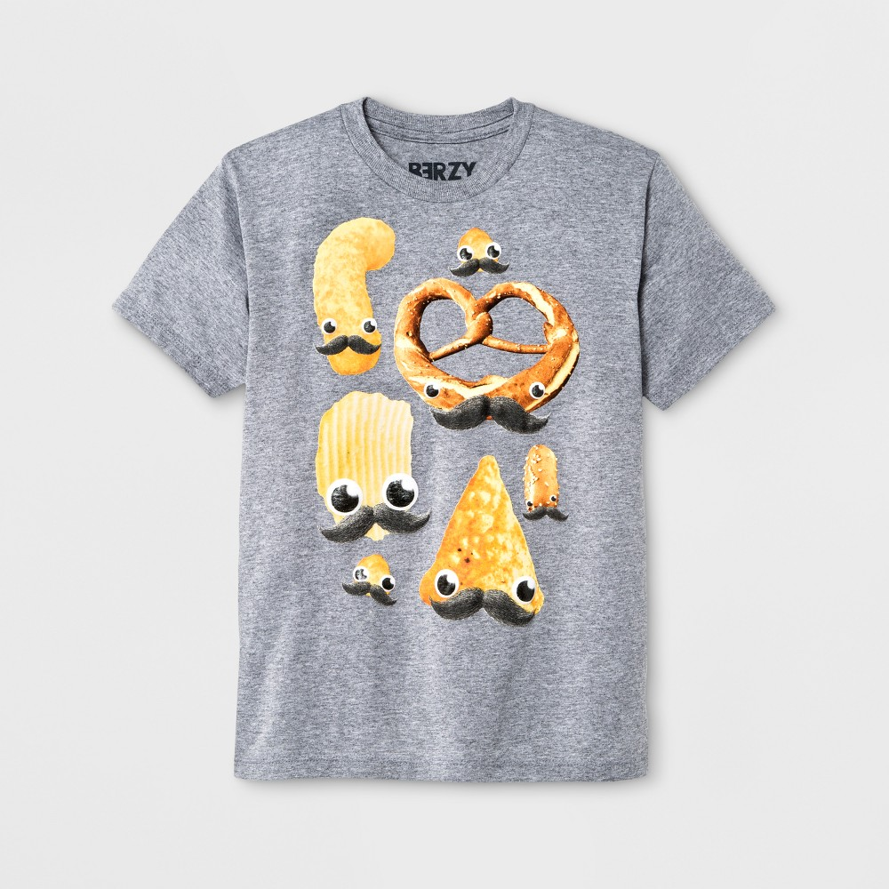 Boys Short Sleeve Snack Mustache T-Shirt - Athletic Heather XL, Gray