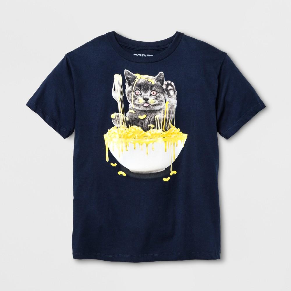 Boys Short Sleeve Cat In Mac N Cheese T-Shirt - Navy XL, Blue