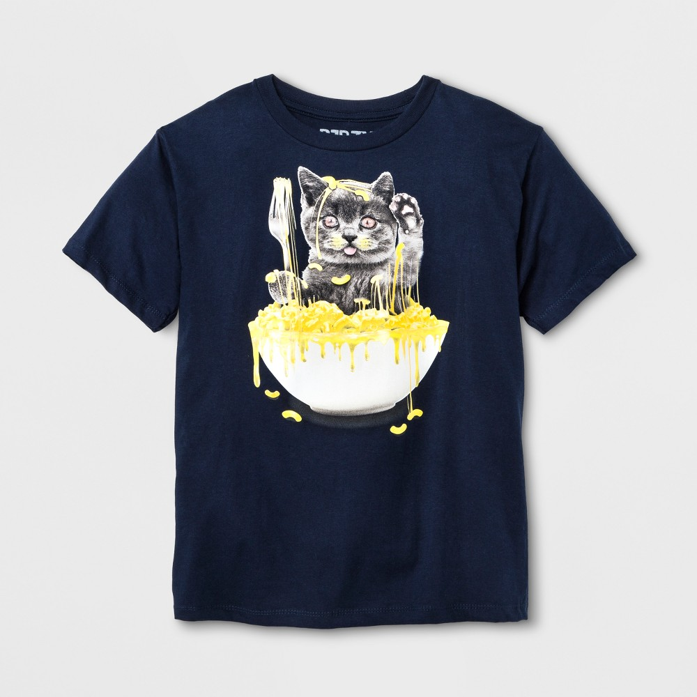 Boys Short Sleeve Cat In Mac N Cheese T-Shirt - Navy XS, Blue
