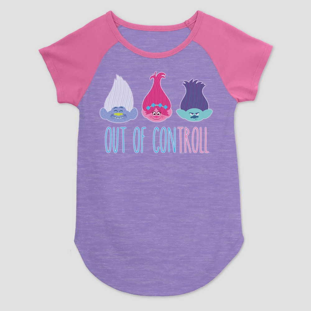 Girls Trolls Out Of Control Graphic T-Shirt - Purple XL