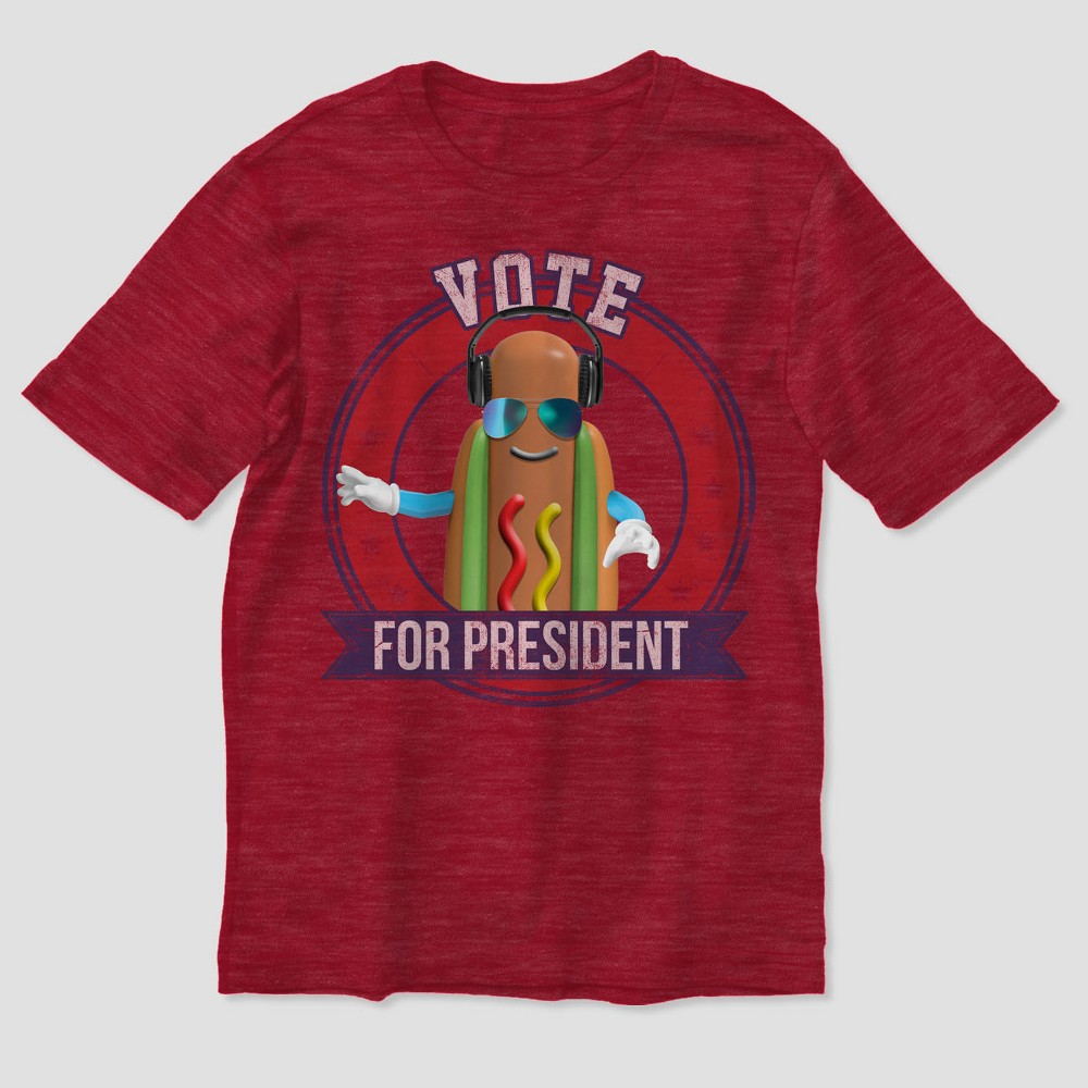 Boys Hot Dog Vote for President Short Sleeve T-Shirt - Red XL