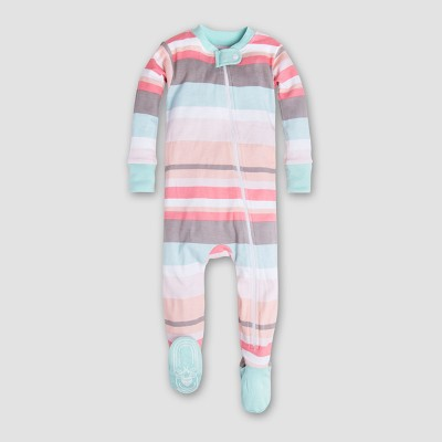 Burt's Bees Baby Girls' Organic Cotton Stripe Sleeper - Multi 6-9M