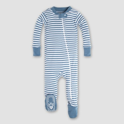 Burt's Bees Baby Boys' Organic Cotton Mini Stripe Sleeper - Blue 6-9M