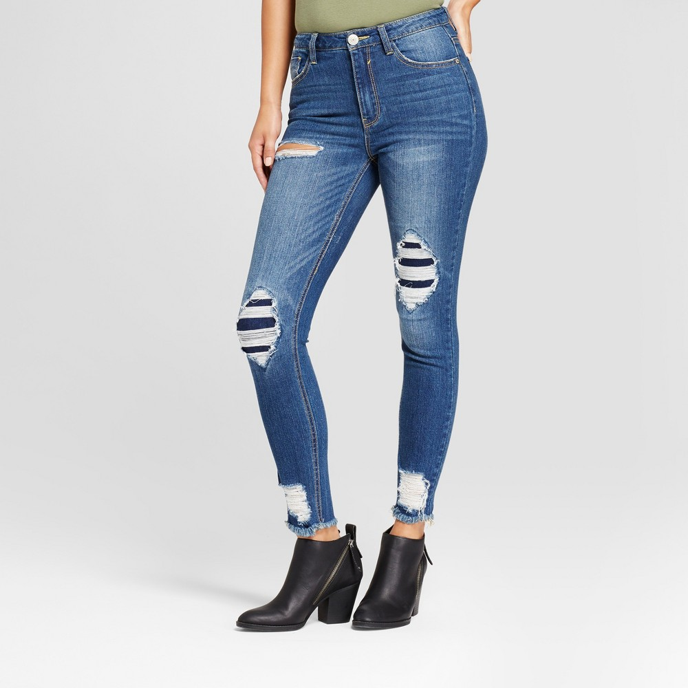 Womens Destructed Distressed Ankle Skinny Jeans - Almost Famous (Juniors) Dark Wash 13, Blue