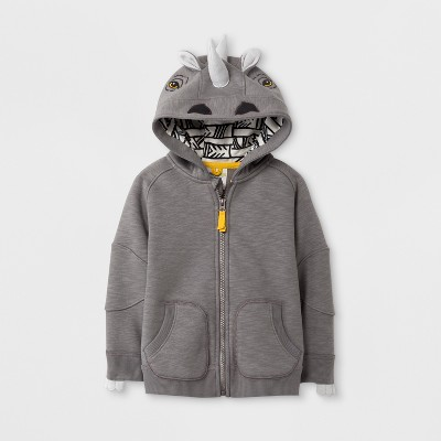 Toddler Boys' Genuine Kids™ from OshKosh® Rhino Long Sleeve Hoodie - Gray - 12M