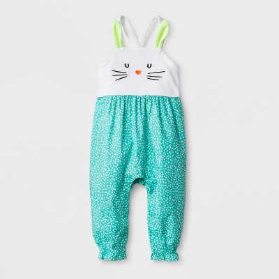Baby Girls' Bunny Romper - Cat & Jack™ Green 0-3M