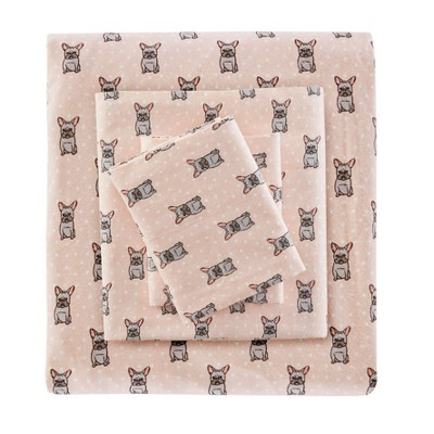 Flannel Sheet Set (California King)4pc Pink French Bulldog 100 Thread Count