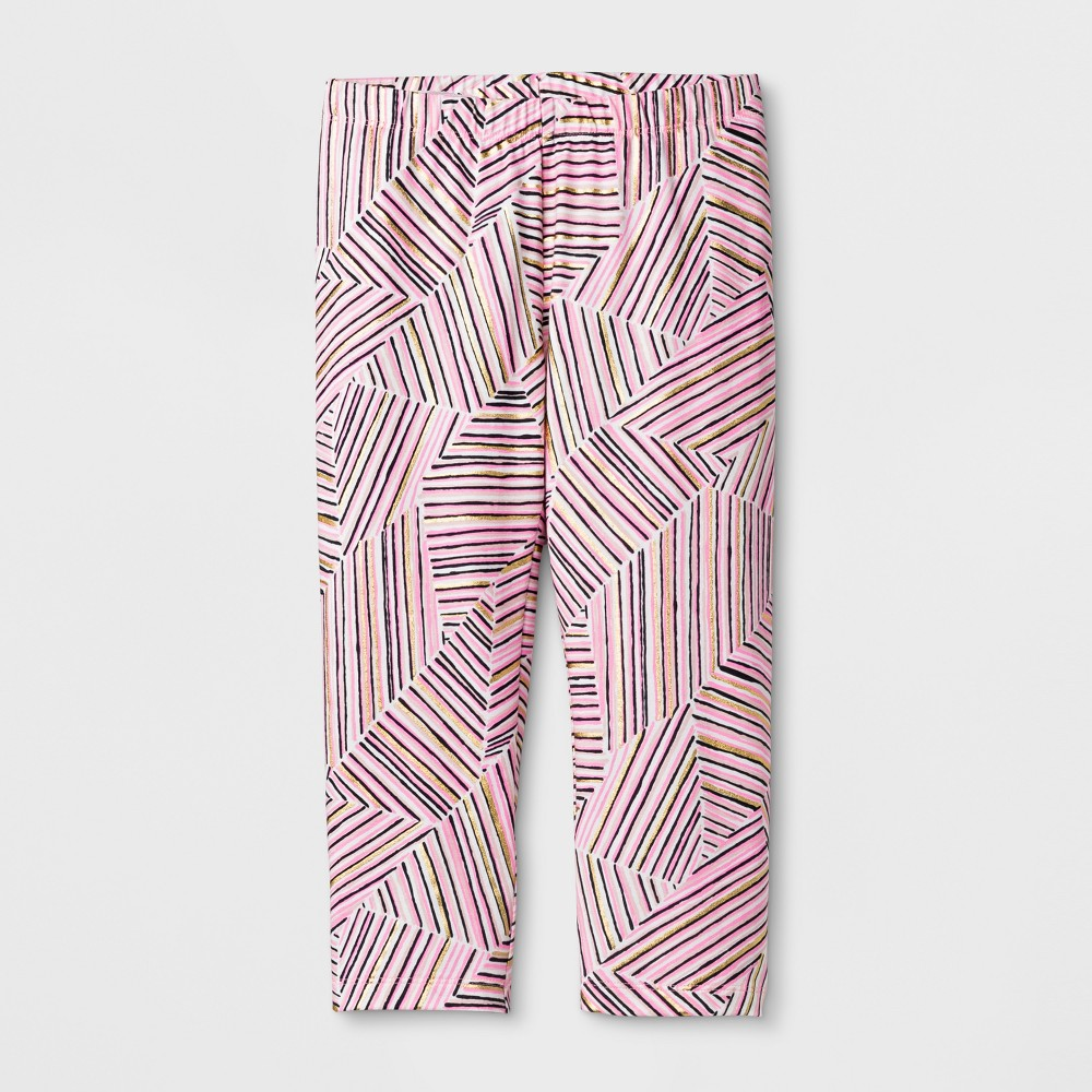 Girls' Capri Printed Leggings Pants - Cat & Jack Pink L
