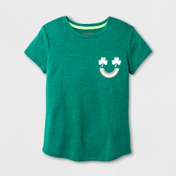 Girls' Short Sleeve St. Patrick's Day Multi Smiley Graphic T-Shirt - Cat & Jack™ Green