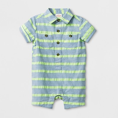 Baby Boys' Striped Short Sleeve Button Down Romper - Cat & Jack™ Green 6-9M