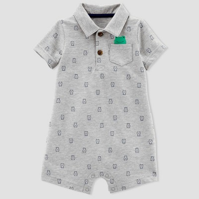 Baby Boys' 1pc Frog Polo Romper - Just One You® made by carter's Gray 12M