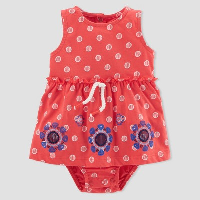 Baby Girls' 1pc Polka Dot Sunsuit - Just One You® made by carter's Coral NB