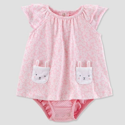 Baby Girls' 1pc Floral Bunny Sunsuit - Just One You® made by carter's Pink NB