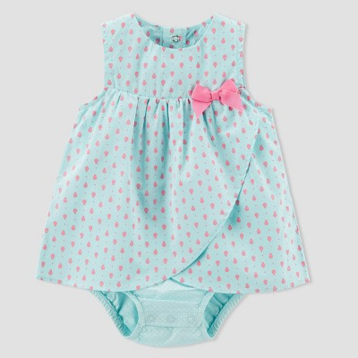 Baby Girls' 1pc Ladybug Romper - Just One You® made by carter's Turquoise NB