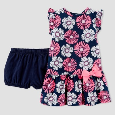 Baby Girls' 1pc Floral Dress Set - Just One You® made by carter's Navy/Pink 3M