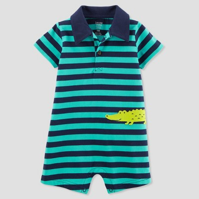 Baby Boys' 1pc Alligator Polo Romper - Just One You® made by carter's Teal 12M