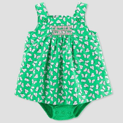 Baby Girls' 1pc Butterfly Sunsuit - Just One You® made by carter's Green/Pink NB