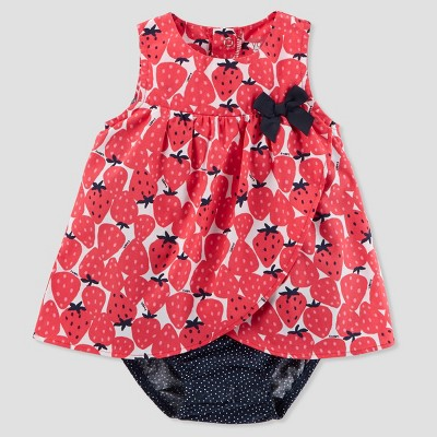 Baby Girls' 1pc Strawberry Sunsuit - Just One You® made by carter's Pink 9M