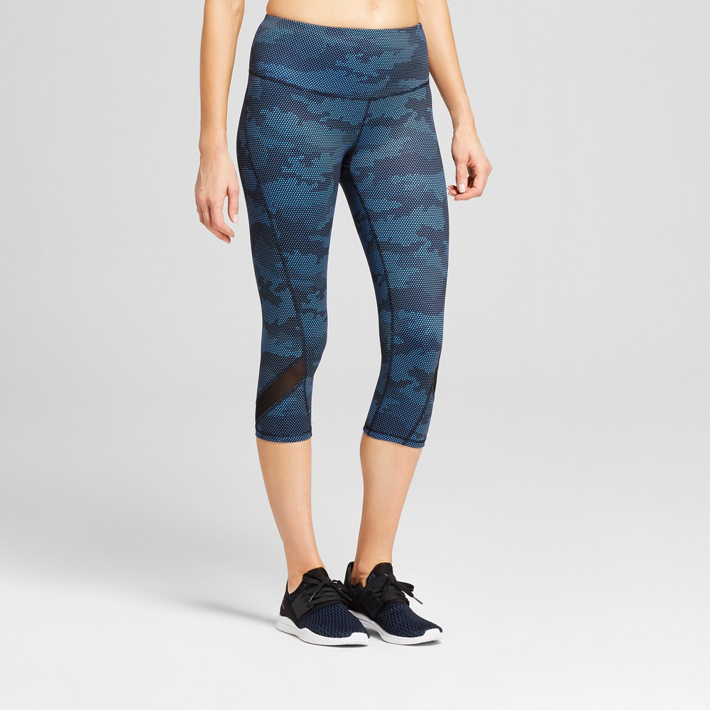 Women's Camo Print Freedom High-Waist Capri Leggings - C9 Champion Groove Blue XL