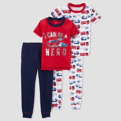 Toddler Boys' 4pc Cotton Hero Firetruck Pajama Set - Just One You® made by carter's Red 3T