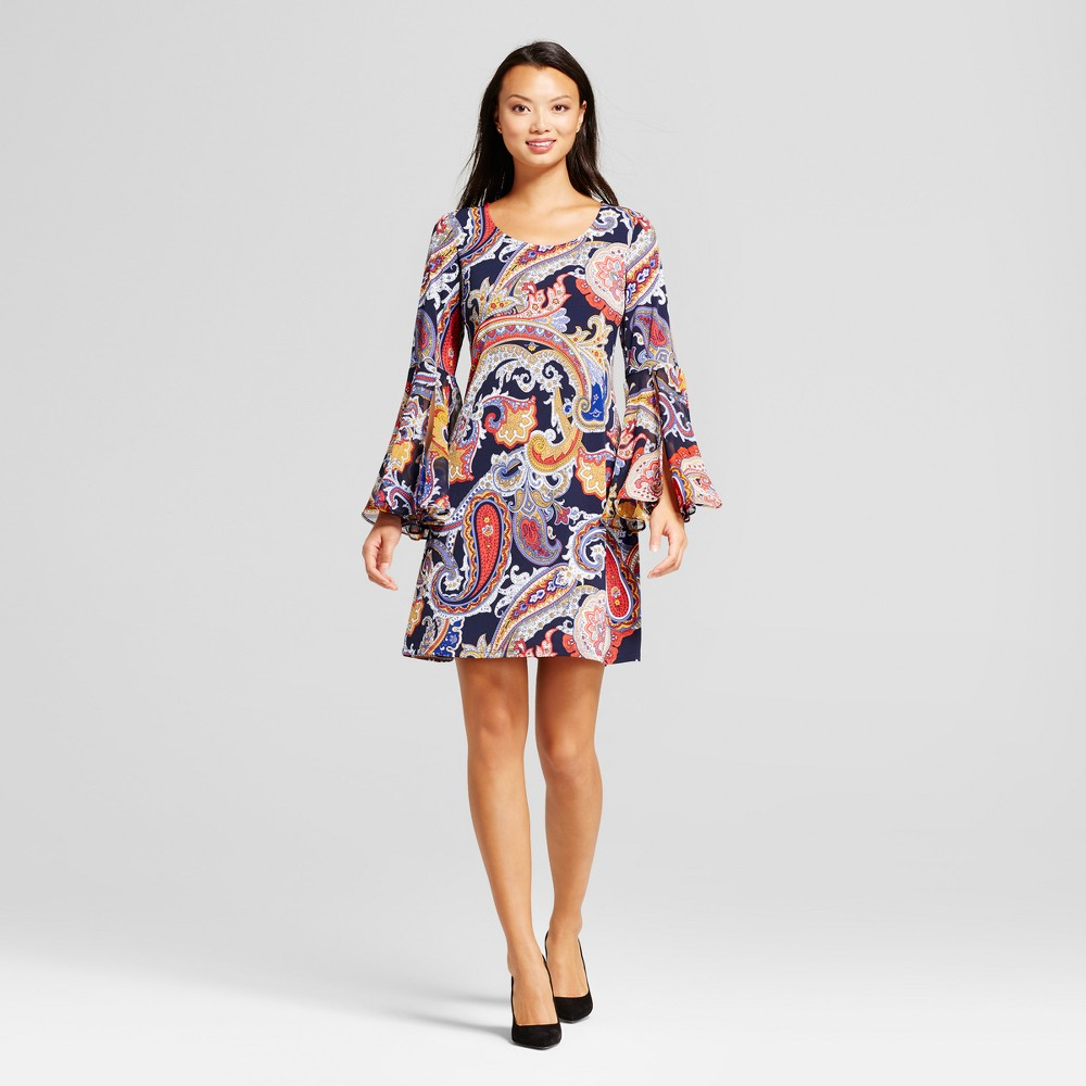 Womens Paisley Shift Dress with Woven Trumpet Sleeve - Chiasso Black Red L