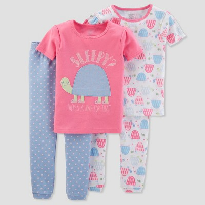 Baby Girls' 4pc Cotton Sleepy Turtle Pajama Set - Just One You® made by carter's Pink 9M