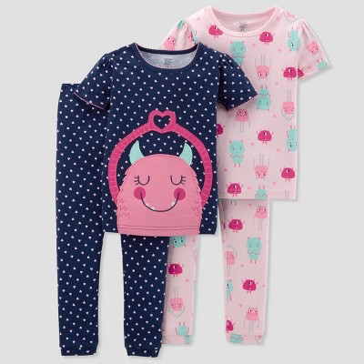Baby Girls' 4pc Cotton Monster Pajama Set - Just One You® made by carter's Blue 9M