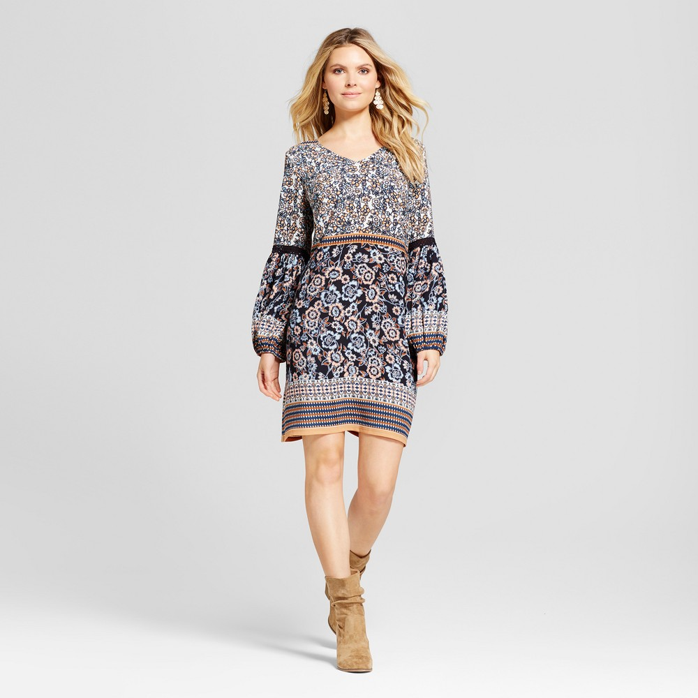 Womens Mix Printed Dress with Crochet Sleeve Detail - Chiasso Blue Combo XL