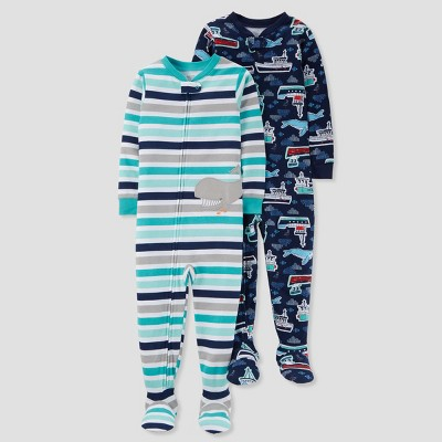 Baby Boys' 2pk Cotton Stripes - Just One You® made by carter's Aqua 12M