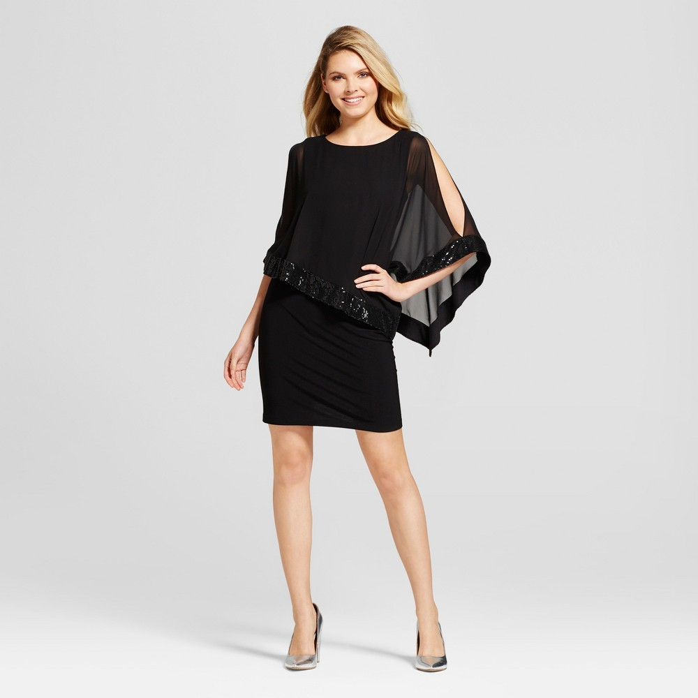 Womens Sequin and Chiffon Overlay Knit Dress - Chiasso Black S