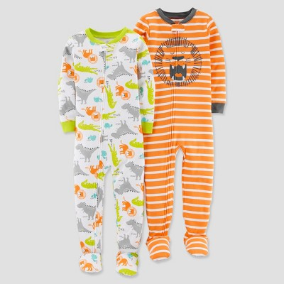 Baby Boys' 2pk Cotton Lion Footed Pajama Set - Just One You® made by carter's Orange 12M