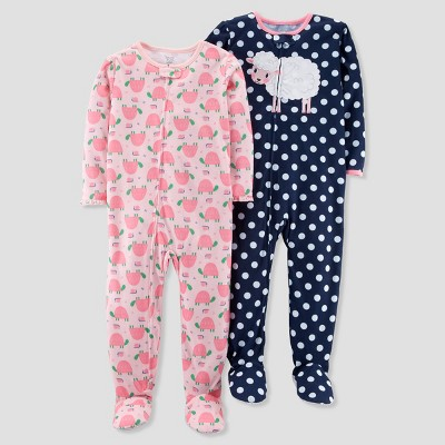 Baby Girls' 2pk Polka Dot Sheep/Turtles Footed Pajama Set - Just One You® made by carter's Navy 18M