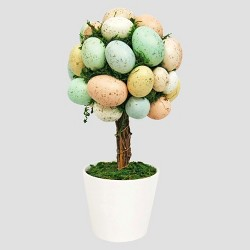 """Artificial Easter Egg Tree in Ceramic Pot Red/Yellow/Blue 13.5"""" - Threshold™"""