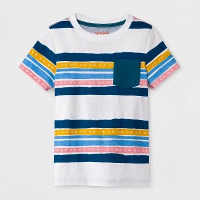 Toddler Boys' Pocket Short Sleeve T-Shirt - Cat & Jack™ White Print 12M