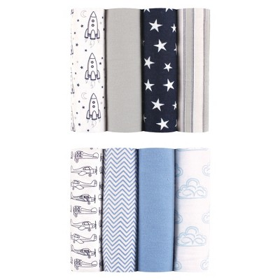 Hudson Baby Flannel Blankets - 8pk - Airplanes & Rocket Ships - Blue