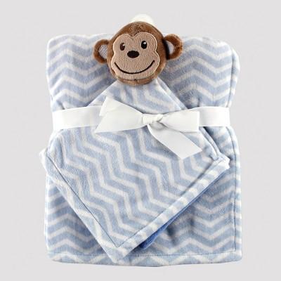 Hudson Baby Plush Blanket and Animal Security Blanket Set - Blue Monkey