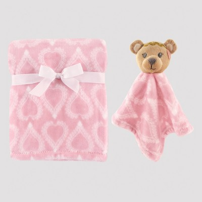 Hudson Baby Plush Blanket and Animal Security Blanket Set - Girly Bear