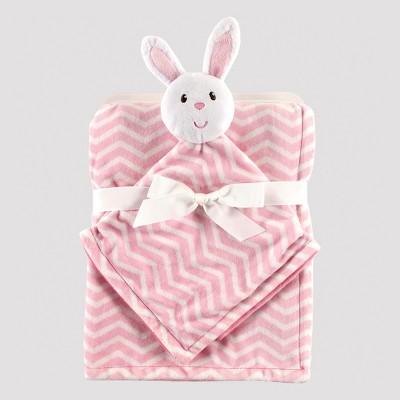 Hudson Baby Plush Blanket and Animal Security Blanket Set - Pink Bunny
