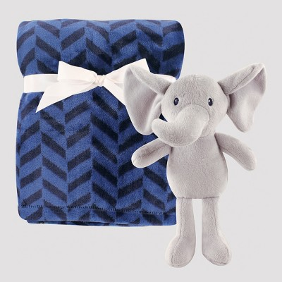 Hudson Baby Plush Blanket with Plush Toy Set - Blue Elephant