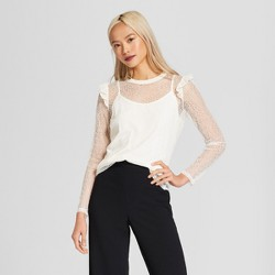 Women's Long Sleeve Rib Crew Lace Top - Who What Wear™