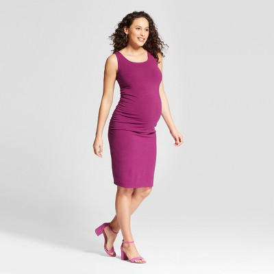 Maternity Shirred Tank Dress - Isabel Maternity by Ingrid & Isabel™ Forever Berry Heather XS