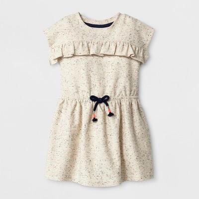 Toddler Girls' Cap sleeve A Line Dress - Cat & Jack™ - Cream 18M
