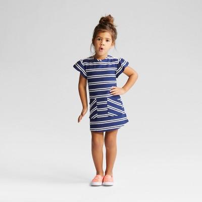 Toddler Girls' Stripe A Line Dress - Cat & Jack™ - Blue 12M