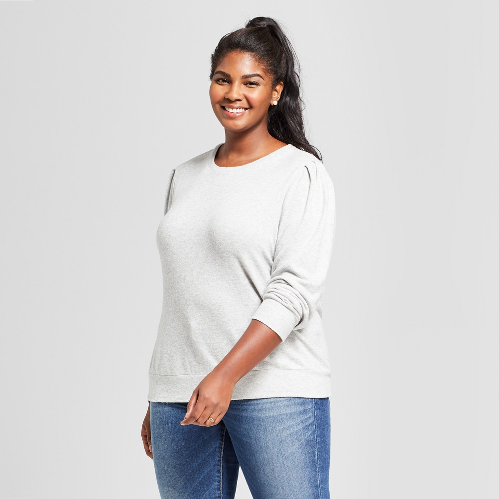 Women's Plus Size Long Sleeve Cozy T Shirt With Puff Sleeve Ava & Viv Heather Gray 2x