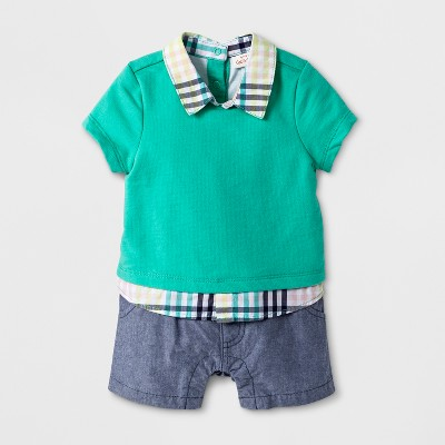 Baby Boys' Short Sleeve Romper with Collar - Cat & Jack™ Green 12M